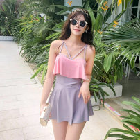 one piece  other S [recommended 80-90 kg], m [recommended 90-100 kg], l [recommended 100-110 kg], XL [recommended 110-120 kg] Pink 8057 Triangle one piece swimsuit Steel strap breast pad Polyester, others female Sleeveless Casual swimsuit Solid color