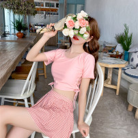 Split swimsuit other Pink 19044, khaki 19044 S [recommended 80-90 kg], m [recommended 90-100 kg], l [recommended 100-110 kg], XL [recommended 110-120 kg] Skirt split swimsuit With chest pad without steel support Polyester, others female Crew neck