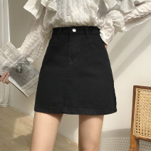 skirt Spring 2021 S,M,L,XL Black, beige, pink Short skirt Versatile High waist A-line skirt Solid color Type A 18-24 years old three point three one 91% (inclusive) - 95% (inclusive) Other / other polyester fiber Button