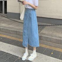 skirt Summer 2021 S,M,L,XL,XXL blue longuette commute High waist Denim skirt Solid color Type A 18-24 years old pocket Korean version