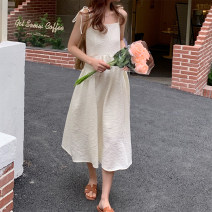Dress Summer 2021 Black, light apricot Average size Mid length dress singleton  Sleeveless commute One word collar High waist Solid color Socket Big swing camisole 18-24 years old Type A Korean version Frenulum
