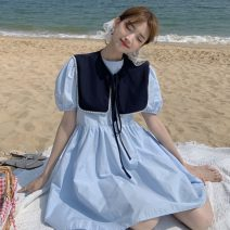 Dress Summer 2021 White, blue, yellow Average size Middle-skirt Two piece set Short sleeve commute Crew neck High waist Solid color Socket A-line skirt puff sleeve 18-24 years old Type A Korean version
