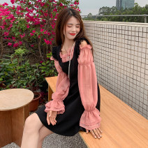 Dress Summer 2021 Black suspender skirt, grey blue shirt, pink shirt Average size Middle-skirt singleton  commute square neck High waist Solid color A-line skirt straps 18-24 years old Type A Retro Stitching, lace 81% (inclusive) - 90% (inclusive)