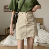 skirt Spring 2021 S,M,L,XL Black, beige, pink Short skirt Versatile High waist A-line skirt Solid color Type A 18-24 years old More than 95% Other / other cotton Button