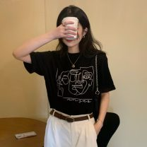 T-shirt White, black Average size Spring 2021 Short sleeve Crew neck easy Regular routine commute cotton 96% and above 18-24 years old Korean version printing