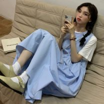 Dress Summer 2021 White T-shirt piece, red T-shirt piece, blue vest skirt piece, white vest skirt piece Average size longuette Two piece set commute Loose waist Solid color Socket 18-24 years old Type H Korean version