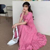 Dress Summer 2021 Picture color Average size Mid length dress singleton  Short sleeve commute One word collar High waist Solid color Socket puff sleeve 18-24 years old Type A Korean version fold
