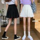skirt Spring 2021 S,M,L White, black Short skirt commute High waist Pleated skirt Solid color Type A 18-24 years old Korean version