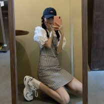 Dress Summer 2021 Puff Sleeve Shirt piece , Plaid skirt piece Average size Short skirt singleton  Sleeveless commute High waist lattice Socket camisole 18-24 years old Korean version