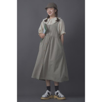 Dress Summer 2021 Mid length dress singleton  Sleeveless commute Half open collar Loose waist Solid color Condom Big swing other straps Type X Other / other literature Fold, strap other cotton One size fits all