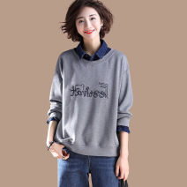 Women's large Autumn 2020 grey Large XL, large XXL, large XXL, large XXXXL, large L, large M T-shirt singleton  commute easy moderate Socket Long sleeves letter Korean version Polo collar routine cotton Three dimensional cutting routine 35-39 years old Embroidery 81% (inclusive) - 90% (inclusive)