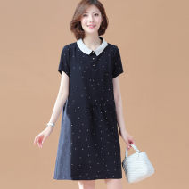 Women's large Summer of 2019 Navy [in stock] Large XL, large XXL, large XXL, large XXXXL, large L, large M Dress singleton  commute easy moderate Socket Short sleeve Dot Korean version Three dimensional cutting routine 81% (inclusive) - 90% (inclusive) Medium length