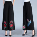 Casual pants Color 1, color 2, color 3, color 4, pure black XL,2XL,3XL,4XL Spring of 2019 trousers Wide leg pants Natural waist commute routine 40-49 years old 81% (inclusive) - 90% (inclusive) Wool blended fabric Retro Embroidery hemp