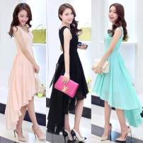 Dress Summer of 2018 Black, pink, water blue S,M,L,XL,2XL Mid length dress Sleeveless Sweet Crew neck High waist Solid color zipper Big swing routine Others 18-24 years old Splicing 51% (inclusive) - 70% (inclusive) Chiffon