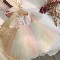 Dress Rainbow color yarn skirt (standard size, don't be greedy), original by Minnie Miya female Minnie honey bud 80cm,90cm,100cm,110cm,120cm,130cm Other 100% summer literature Skirt / vest other cotton Cake skirt CL6058 other Chinese Mainland Guangdong Province Shenzhen City