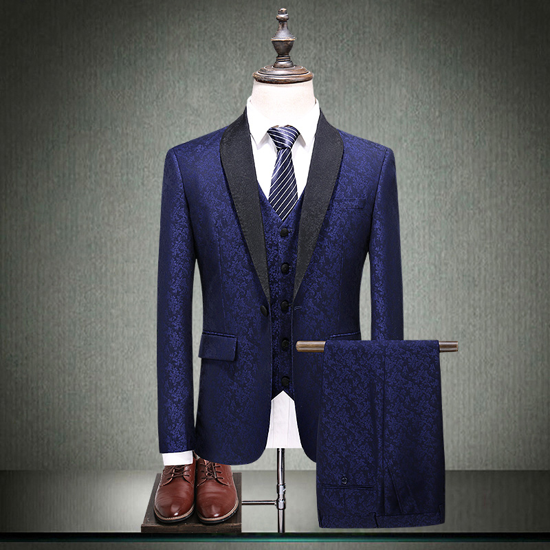 Suit Youth fashion Others blue S M L XL 2XL 3XL 4XL 5XL routine Back middle slit Green fruit collar autumn Self cultivation A single breasted button Other leisure youth tide Regular collar (collar width 7-9cm) 2018 Plants and flowers jacquard weave