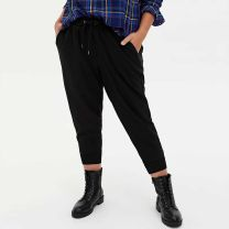 Women's large Summer 2020, autumn 2020 Black, army green 00,0,1,2,3,4,5,6 trousers commute thin Solid color cotton 25-29 years old pocket trousers