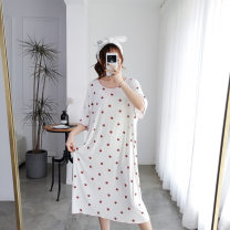 Nightdress Other / other White strawberry, gray strawberry, pink strawberry, white peach heart, gray peach heart, pink peach heart Big size average Sweet Short sleeve Leisure home longuette summer heart-shaped youth Crew neck viscose  printing 81% (inclusive) - 95% (inclusive) Modal fabric