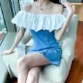 Dress Summer 2021 Denim Blue Hot diamond , Denim blue without ironing S,M,L Mid length dress Short sleeve commute other other