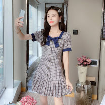Dress Summer 2021 Picture color S,M,L,XL,160/84A,165/88A,170/92A,175/96A Short skirt singleton  Short sleeve Sweet V-neck High waist lattice A-line skirt puff sleeve Others Under 17 Type A Other / other bow 9957# 91% (inclusive) - 95% (inclusive) other other Mori