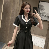Dress Summer 2020 Green, black S,M,L,XL longuette singleton  Short sleeve commute tailored collar High waist Solid color zipper A-line skirt routine Others 18-24 years old Type A lady 6006 in stock other other
