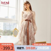 Dress Spring 2021 Decor 155/S 160/M 165/L Mid length dress singleton  Long sleeves commute Crew neck High waist Socket Big swing puff sleeve 30-34 years old Type H Iveni Lace up screen printing 21DC104 More than 95% polyester fiber Polyester 100%