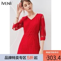 Dress Summer of 2019 Modern red classic black 155/S 160/M 165/L Mid length dress singleton  three quarter sleeve commute V-neck middle-waisted Broken flowers Socket routine 30-34 years old Type H Iveni Ol style Pleated embroidered lace AAHQ652 51% (inclusive) - 70% (inclusive) Lace nylon