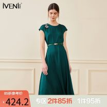 Dress Summer 2021 Emerald green 155/S 160/M 165/L 170/XL Mid length dress singleton  Short sleeve commute Crew neck High waist Solid color Socket Big swing routine Others 30-34 years old Type H Iveni Korean version Three dimensional decoration XOJQS851 More than 95% polyester fiber Polyester 100%