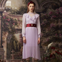 Dress Autumn of 2019 Photinia XS S M L Mid length dress singleton  Long sleeves Half high collar High waist Solid color zipper Pleated skirt bishop sleeve Others 25-29 years old FEXATA More than 95% polyester fiber Polyester 99.2% others 0.8% Same model in shopping mall (sold online and offline)