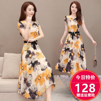 Dress Spring 2020 printing M. L, XL, 2XL, 3XL, 4XL, 20% discount for single coupon, shopping cart + collection + pay attention to store, enjoy priority delivery singleton  Short sleeve commute Crew neck High waist Decor Socket Irregular skirt routine Others 35-39 years old Type A Korean version