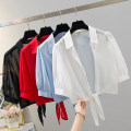 short coat Summer 2021 S,M,L,XL,2XL White, red, blue, black Short sleeve routine Thin money singleton  Self cultivation commute routine stand collar Solid color 25-29 years old 81% (inclusive) - 90% (inclusive) Bow, tie, tie other polyester fiber