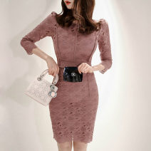 Dress Spring 2020 Picture color S,M,L,XL Middle-skirt singleton  three quarter sleeve commute Crew neck High waist Solid color zipper One pace skirt routine Others 25-29 years old Type H Korean version Zipper, lace, stitching 81% (inclusive) - 90% (inclusive) Lace nylon