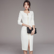 Dress Autumn 2020 White, black S,M,L,XL Mid length dress singleton  Long sleeves commute square neck middle-waisted Solid color zipper One pace skirt routine Others 25-29 years old Type H Korean version zipper 71% (inclusive) - 80% (inclusive) brocade nylon