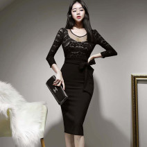 Dress Spring 2021 black S,M,L,XL Mid length dress singleton  three quarter sleeve commute Crew neck High waist Solid color zipper One pace skirt routine Others 25-29 years old Type H Korean version 71% (inclusive) - 80% (inclusive) brocade nylon