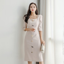 Dress Summer 2020 Picture color S,M,L,XL Mid length dress singleton  three quarter sleeve commute square neck High waist Solid color zipper One pace skirt Others 25-29 years old Type H Other / other Korean version Panel, button, zipper 71% (inclusive) - 80% (inclusive) brocade nylon