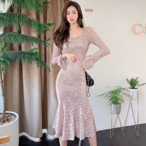 Dress Autumn 2020 Pink S,M,L,XL longuette singleton  Long sleeves commute square neck High waist Solid color zipper Ruffle Skirt routine Others 25-29 years old Type H Korean version 71% (inclusive) - 80% (inclusive) Lace polyester fiber