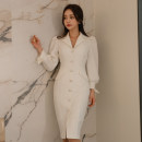 Dress Autumn of 2019 white S,M,L,XL Mid length dress singleton  Long sleeves commute tailored collar High waist Solid color Single breasted One pace skirt bishop sleeve Others 25-29 years old Type H Ol style Button 71% (inclusive) - 80% (inclusive) brocade nylon
