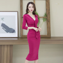 Dress Autumn 2020 Rose red S,M,L,XL Mid length dress singleton  three quarter sleeve commute V-neck High waist Solid color zipper One pace skirt routine Others 25-29 years old Type H Korean version Lace up, zipper 71% (inclusive) - 80% (inclusive) brocade nylon