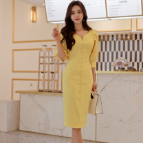 Dress Spring of 2019 yellow S,M,L,XL Mid length dress singleton  three quarter sleeve commute V-neck High waist Solid color Single breasted One pace skirt puff sleeve Others 25-29 years old Type H Korean version Button 71% (inclusive) - 80% (inclusive) brocade nylon