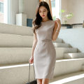 Dress Autumn of 2019 grey S,M,L,XL Middle-skirt singleton  Sleeveless commute Crew neck High waist Solid color zipper One pace skirt Others 25-29 years old Type H Other / other Korean version zipper 71% (inclusive) - 80% (inclusive) brocade nylon