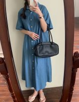 Dress Spring 2021 Average size longuette singleton  Long sleeves commute Polo collar middle-waisted Solid color Single breasted A-line skirt 18-24 years old Type H Button, pocket 3-20 cotton
