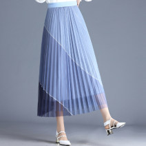skirt Spring 2021 Average size Black, blue, beige Mid length dress Versatile High waist Pleated skirt Abstract pattern Type A 25-29 years old XLY9002 other other Draw fold, fold, three-dimensional decoration, asymmetry, gauze net, open line decoration