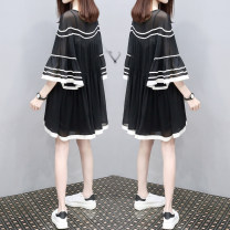 Dress Summer of 2018 White, black S,M,L,XL,2XL,3XL Mid length dress Two piece set three quarter sleeve commute Crew neck Loose waist Solid color Socket A-line skirt pagoda sleeve Others Type A Korean version Stitching, folding Chiffon