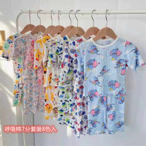 Home suit Damengya sister 90cm,100cm,110cm,120cm,130cm,140cm summer neutral Cotton 100% 2 years old , 3 years old , 4 years old , 5 years old , 6 years old , 7 years old , 8 years old , one - 3 years old , three - 5 years old , five - 7 years old Expel dampness and absorb sweat Class A