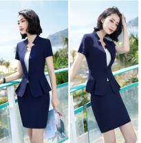 Professional dress suit S,M,L,XL,XXL,XXXL,4XL,5XL Summer 2021 Short sleeve loose coat Suit skirt 51% (inclusive) - 70% (inclusive) polyester fiber
