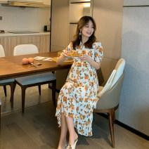 Dress Beszag Decor M,L,XL Korean version Short sleeve Medium length summer V-neck Decor Chiffon A720041705q Chiffon orange flower