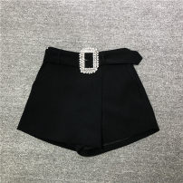 Casual pants Black, white M,L,S Autumn 2020 shorts Wide leg pants High waist Versatile routine 18-24 years old 96% and above 4-10075 polyester fiber belt polyester fiber
