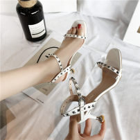 Sandals 35 36 37 38 39 Beige white Vanessa PU Barefoot Fine heel Low heel (1-3cm) Summer of 2018 Flat buckle Korean version Solid color Adhesive shoes Youth (18-40 years old) rubber daily Front and rear trip strap waterproof Low Gang Lateral space PU PU 0618 Roman shoes zero point seven two One