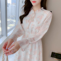 Dress Spring 2021 Picture color S,M,L,XL Mid length dress singleton  Long sleeves commute Crew neck Loose waist Decor other Big swing pagoda sleeve Others 25-29 years old Type A lady Bandage ZD 51% (inclusive) - 70% (inclusive) Chiffon PU