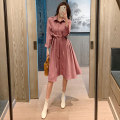 Dress Spring 2021 Khaki, black, pink S,M,L,XL Mid length dress singleton  Nine point sleeve commute Polo collar High waist Solid color Single breasted A-line skirt shirt sleeve Others 25-29 years old Type A Korean version Button, strap ZD 51% (inclusive) - 70% (inclusive) other other